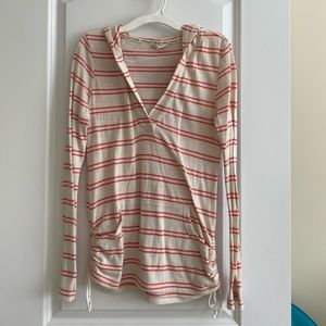 Roxy pink & white striped sweatshirt